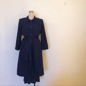 Downpour - Vintage Navy Rain/Trench Coat